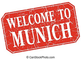welcome to Munich red square grunge stamp