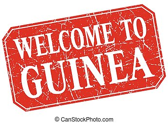welcome to Guinea red square grunge stamp