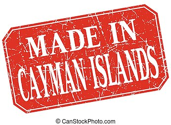made in Cayman Islands red square grunge stamp