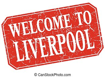 welcome to Liverpool red square grunge stamp