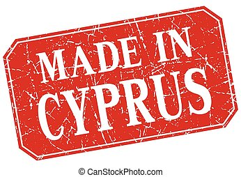 made in Cyprus red square grunge stamp