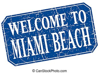 welcome to Miami Beach blue square grunge stamp