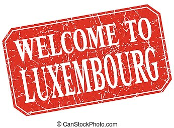 welcome to Luxembourg red square grunge stamp