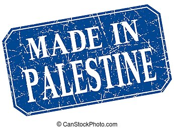 made in Palestine blue square grunge stamp