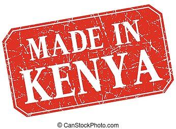 made in Kenya red square grunge stamp
