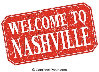 welcome to Nashville red square grunge stamp