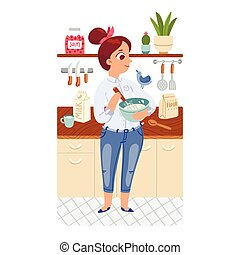 Cooking girl - A girl cooking pancakes in a kitchen with a...