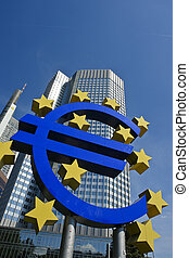 Euro symbol with European central bank, Frankfurt am Main -...