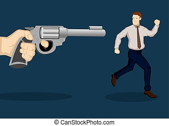 Businessman At Gunpoint Cartoon Vector Illustration -...