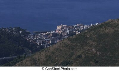 Genoa nervi neighbourhood seen from mount Fasce, Italy