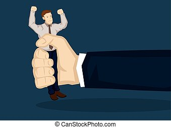 Small Businessman Gets Squeezed Vector Illustration -...