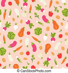 Vegetables pattern on peach background - Vegetables seamless...