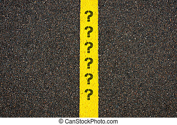 Road marking yellow line with question marks - Road marking...