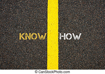 Road marking yellow line, KNOWHOW concept - Road marking...