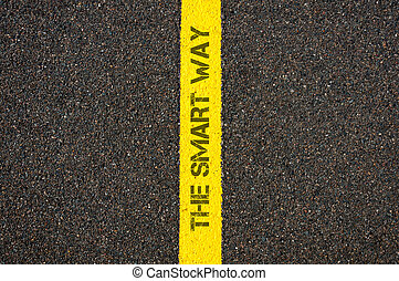 Road marking yellow line, text THE SMART WAY - Road marking...