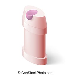 Shampoo Icon - Shampoo Pink Icon in Isometric Style on White...