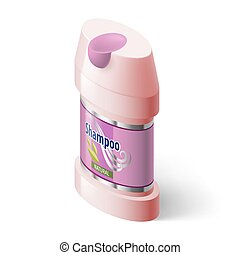 Shampoo Icon - Shampoo Isometric Pink Icon on White...