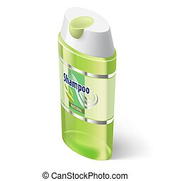 Shampoo Icon - Shampoo Isometric Green Icon on White...