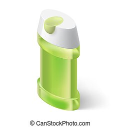 Shampoo Icon - Shampoo Green Icon in Isometric Style on...