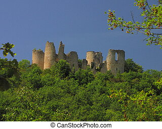 Castle Roussillon, tower, forest - Southwest of France, Lot,...