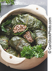 Collard greens rolls, close up - Collard greens rolls with...