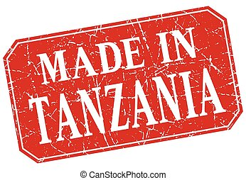 made in Tanzania red square grunge stamp