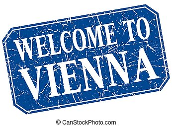 welcome to Vienna blue square grunge stamp