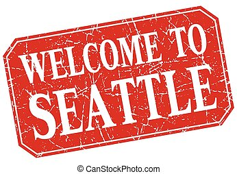welcome to Seattle red square grunge stamp
