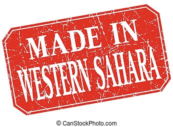 made in Western Sahara red square grunge stamp