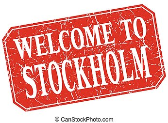 welcome to Stockholm red square grunge stamp