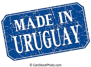 made in Uruguay blue square grunge stamp