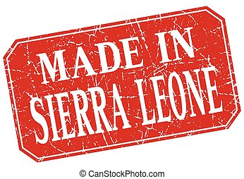 made in Sierra Leone red square grunge stamp