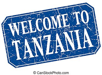 welcome to Tanzania blue square grunge stamp