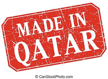 made in Qatar red square grunge stamp