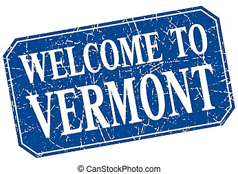 welcome to Vermont blue square grunge stamp