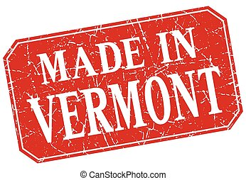 made in Vermont red square grunge stamp