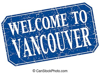 welcome to Vancouver blue square grunge stamp