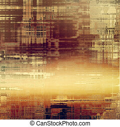 Retro style graphic composition on textured grunge background. With different color patterns: yellow (beige); brown; purple (violet); red (orange); pink