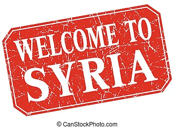 welcome to Syria red square grunge stamp