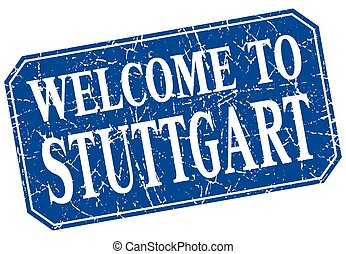 welcome to Stuttgart blue square grunge stamp