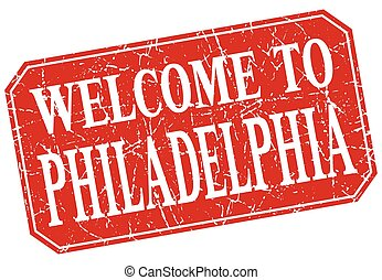 welcome to Philadelphia red square grunge stamp