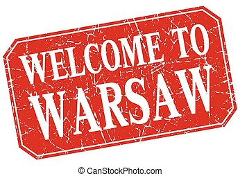 welcome to Warsaw red square grunge stamp