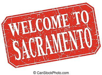 welcome to Sacramento red square grunge stamp