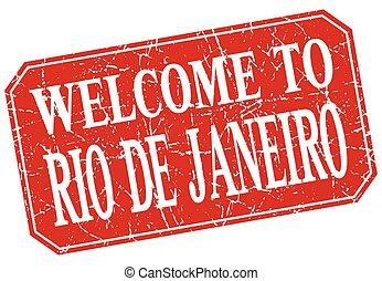 welcome to Rio De Janeiro red square grunge stamp