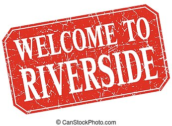 welcome to Riverside red square grunge stamp