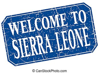 welcome to Sierra Leone blue square grunge stamp