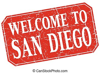 welcome to San Diego red square grunge stamp