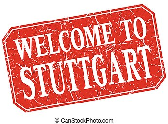 welcome to Stuttgart red square grunge stamp
