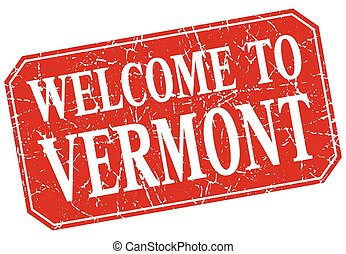 welcome to Vermont red square grunge stamp