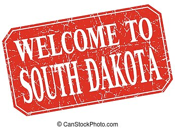 welcome to South Dakota red square grunge stamp